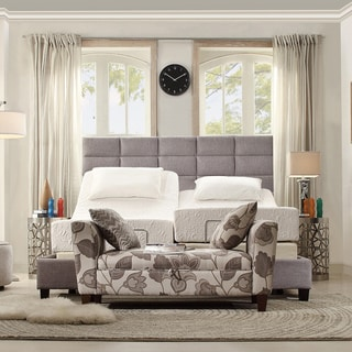 INSPIRE Q Tower Grey Linen King-Size Upholstered Bed