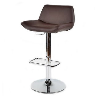 Brown Leatherette Adjustable Chrome Bar Stool