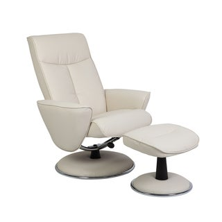 Comfort Snow Bonded Leather Recliner Chair and Ottoman Set