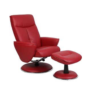 Comfort Red Bonded Leather Recliner Chair and Ottoman Set