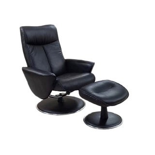 Comfort Black Bonded Leather Recliner Chair and Ottoman Set