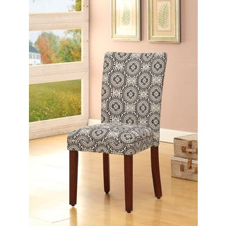 HomePop Parsons Black/ White Dining Chairs (Set of 2)