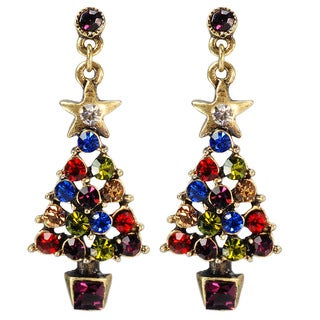Sweet Romance Jeweled Christmas Tree Earrings