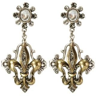 Sweet Romance Vintage French Fleur De Lis Crystal and Pearl Earrings