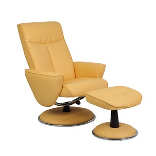 Comfort Sun Bonded Leather Recliner Chair and Ottoman Set