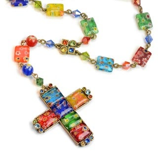Sweet Romance Candy Rosary Square Cross Necklace