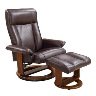 Comfort Tobacco Polyurethane Recliner Chair and Ottoman Set