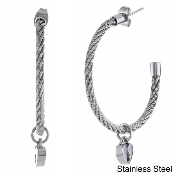 Stainless Steel Cable Hoop Earrings with Heart Lock Charm