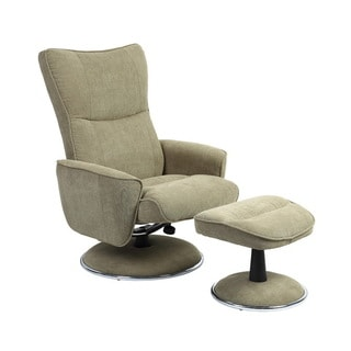 Comfort Avocado Bonded Leather Recliner Chair and Ottoman Set