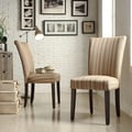 INSPIRE Q Catherine Mocha Brown Stripe Parsons Dining Chair (Set of 2)
