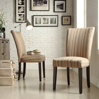 Inspire Q Parson Montgomery Striped Fabric Side Chairs (Set of 2)