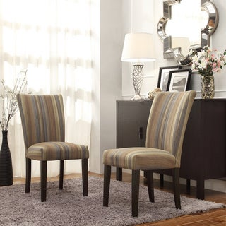 INSPIRE Q Catherine Mocha Tonal Stripe Parsons Dining Chair (Set of 2)
