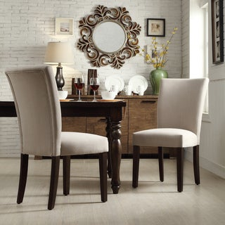 INSPIRE Q Catherine Grey Fabric Parsons Dining Chair (Set of 2)