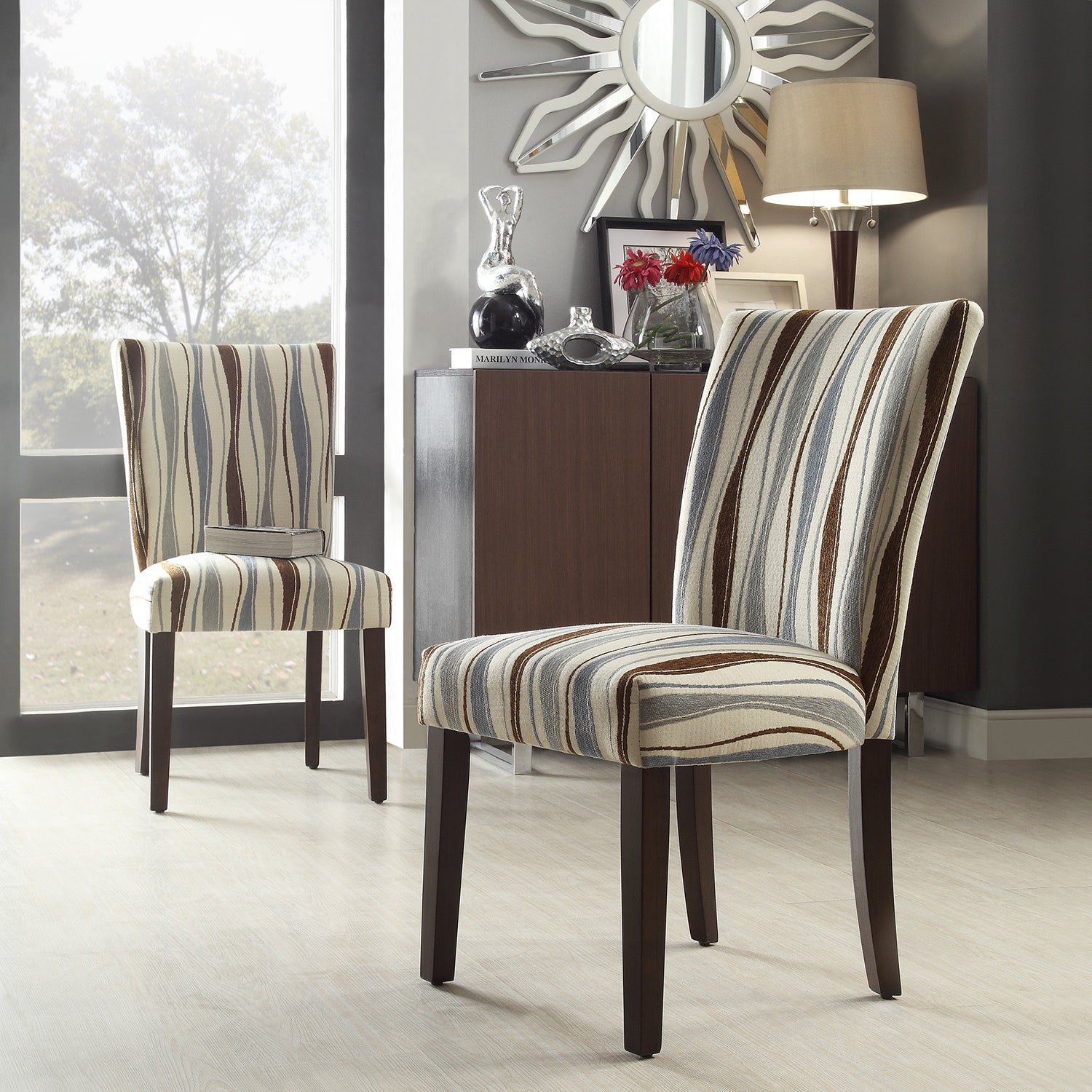 INSPIRE Q Catherine Vertical Wavy Stripe Parsons Dining Chair (Set Of . Full resolution‎  photograph, nominally Width 1500 Height 1500 pixels, photograph with #5F4A41.