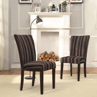 INSPIRE Q Catherine Dark Tonal Stripe Parsons Dining Chair (Set of 2)