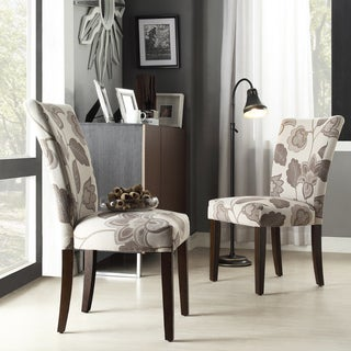 INSPIRE Q Catherine Grey Floral Parsons Dining Chair (Set of 2)
