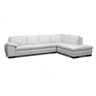 Diana Pale Gray Leather Modern Sectional Sofa