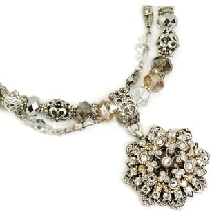 Sweet Romance Snowflake on Double Crystal Necklace