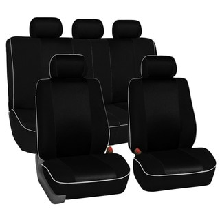 FH Group Black 3D Air-mesh with Edge Piping Car Seat Covers (Full Set)
