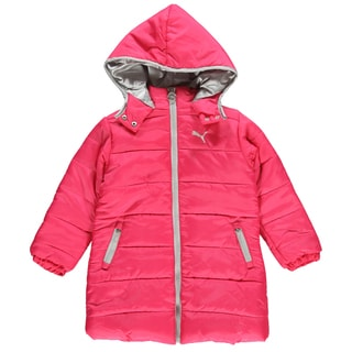 Puma Girls Snowed In Long Cut Pink Parka