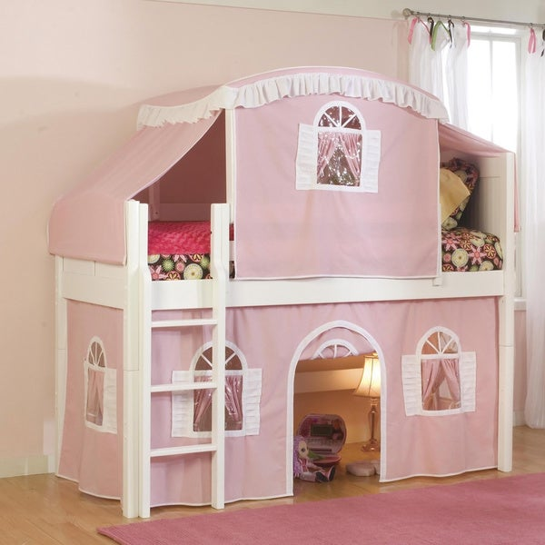Low-Loft White Twin Bed with Ladder, Top Tent and Bottom Playhouse Curtain