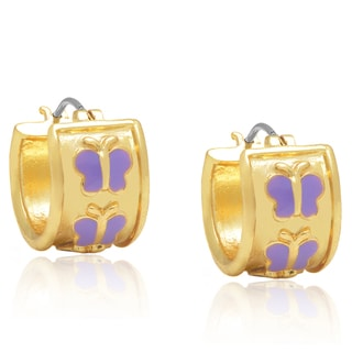 Molly and Emma Gold Overlay Purple Butterfly Hoop Earrings