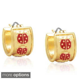 Molly and Emma Gold or Silver Overlay Red Ladybug Hoop Earrings