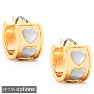 Molly and Emma Fine Plated Silver or 14k Gold Overlay Heart Hoop Earring