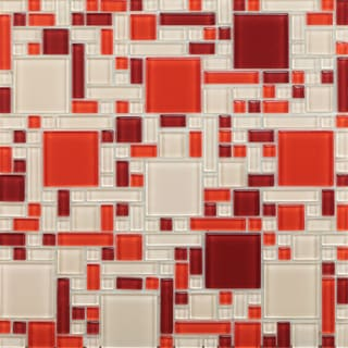 Red Peel and Stick Glass Mosaic Tile (Pack of 1)