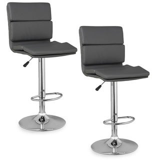 Panel Back Adjustable Swivel Stool (Set of 2)