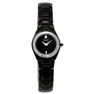 Seiko Women's Black Ion-plated Diamond Watch