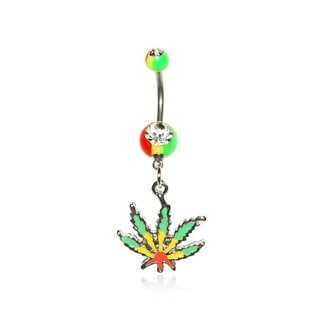 Supreme Jewelry 14G Stainless Steel Rasta Pot Leaf Belly Ring