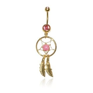 Supreme Jewelry 14G Gold Anodized Surgical Steel Dream Catcher with Bling Belly Ring