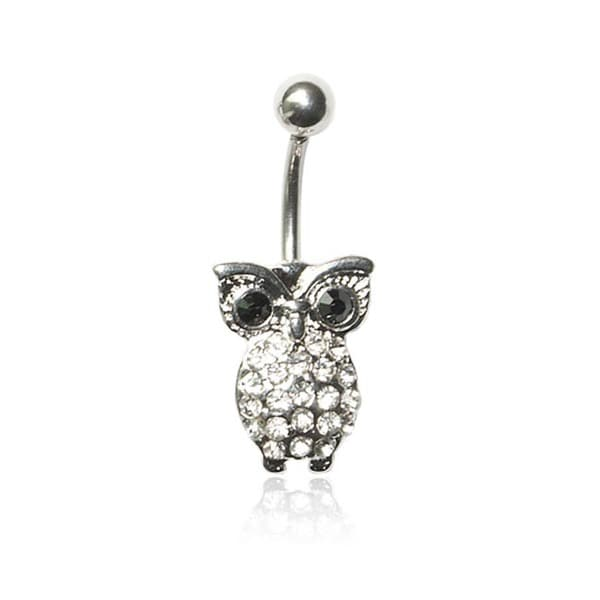Supreme Jewelry 14G Surgical Steel Owl with Bling Belly Ring