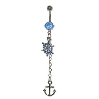 Supreme Jewelry 14G Surgical Steel Nautical Wheel and Anchor Belly Ring with Bling
