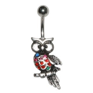 Supreme Jewelry 14G Surgical Steel Owl with Belly Bling Belly Ring