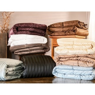 All-Season Luxurious Striped Down Alternative Comforter