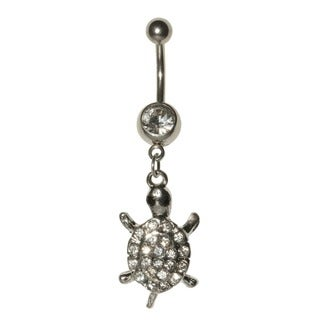 Supreme Jewelry 14G Stainless Steel Turtle Charm with Bling Belly Ring