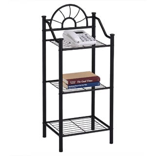 3-tier Metal Black Finish Bookshelf Accent Phone Table