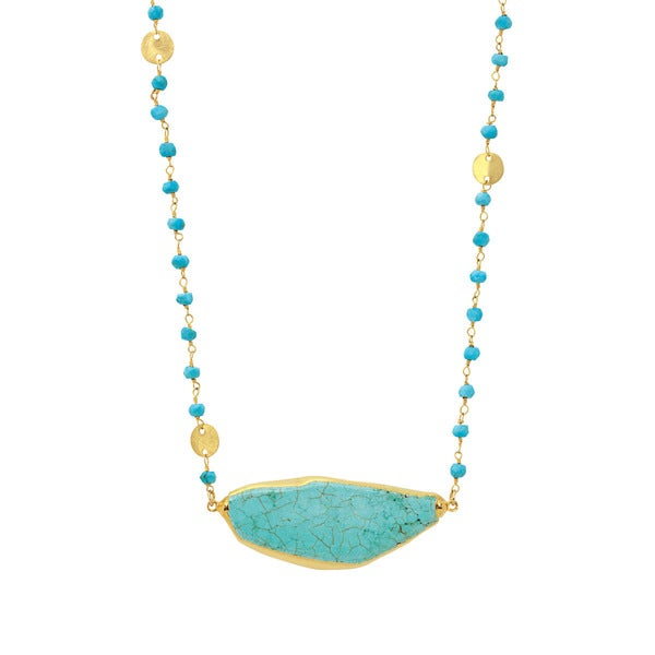 American Coin Treasures Magnesite Stone and Double Bail With Reconstructed Turquoise and Gold Tone Disks Chain