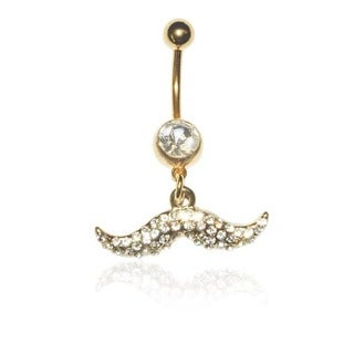 Supreme Jewelry 14G Gold Anodized Surgical Steel Mustache with Bling Belly Ring