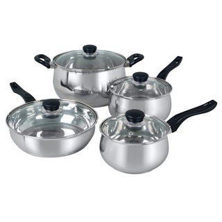 Oster Rametto 8-piece Stainless Steel Glass Top Cookware Set