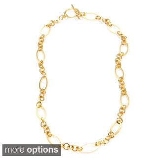 Simon Frank 14K or Rhodium Overlay Oval Triple Round Link Vogue Fashion Chain Necklace