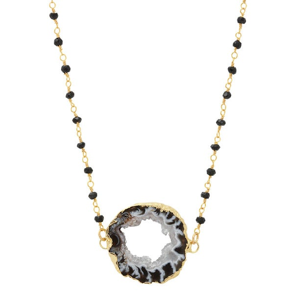 American Coin Treasures 24k Gold Agate Slice Double Bail Layered 30-inch Black Spinel Chain Necklace