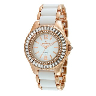 Peugeot Women's Crystal Accented Rose Gold-Tone White Acrylic Link Watch