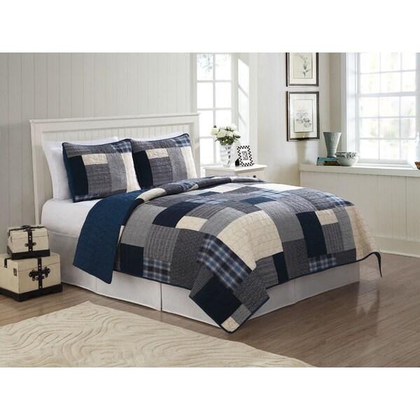 Indigo Blue 3-piece Quilt Set