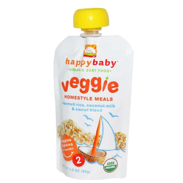 Happy Baby Stage 2 Homestyle Basmati Rice, Coconut Milk & Carrot Meal Pouch (12 Pack)