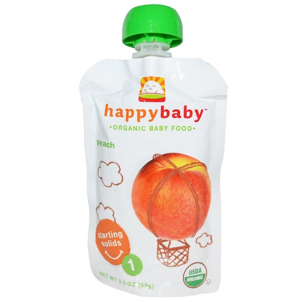 Happy Baby Stage 1 Peach Food Pouch (12 Pack)