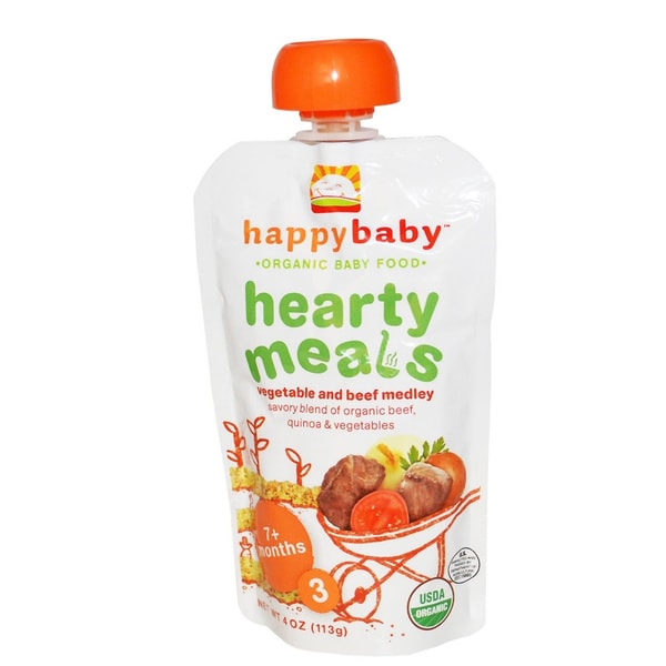 Happy Baby Stage 3 Vegetable and Beef Medley Food Pouch (12 Pack)
