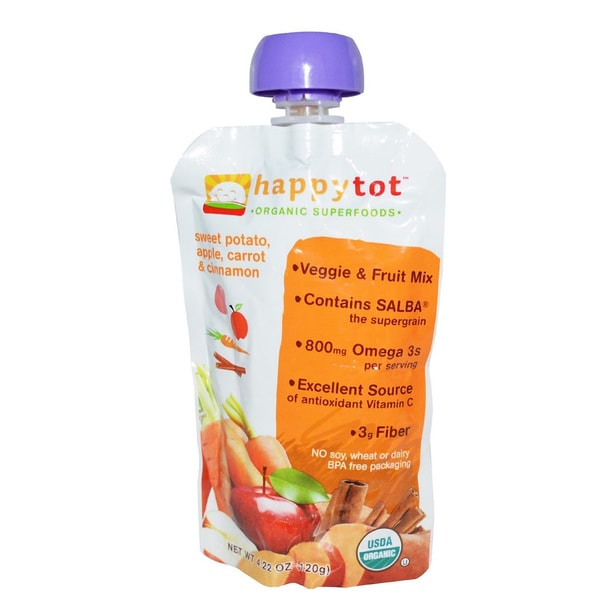 Happy Baby Stage 4 Sweet Potato, Apple, Carrots & Cinnamon Tot Food Pouch (12 Pack)